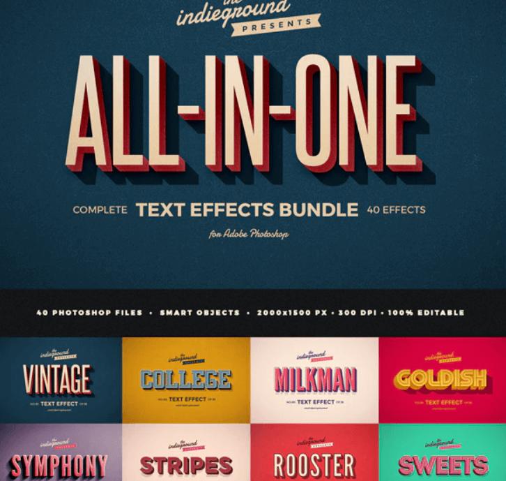 Retro Vintage Text Effects Complete Bundle