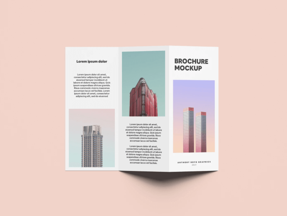 Free Elegant Folded Brochure Mockup PSD Template