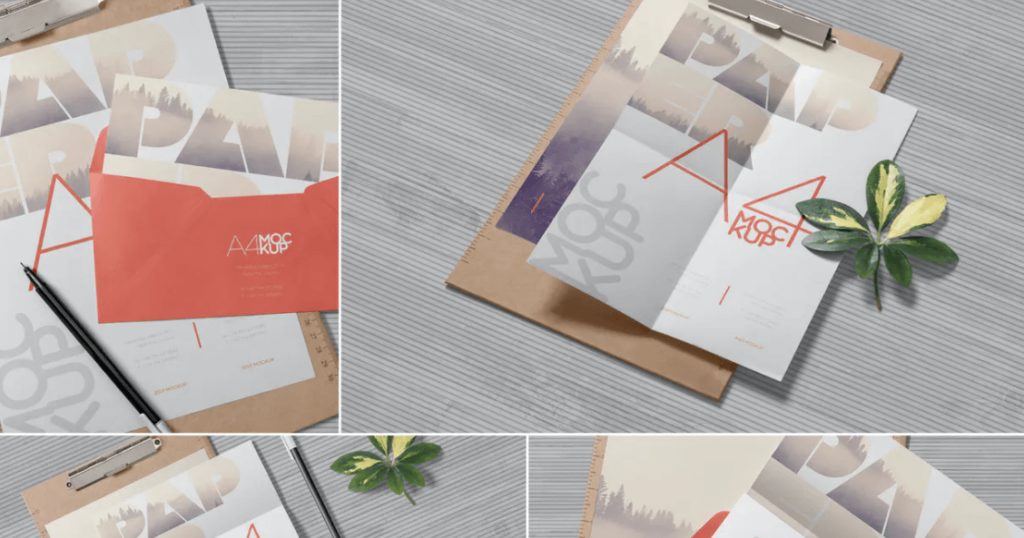 4 Realistic A4 Paper Mockups