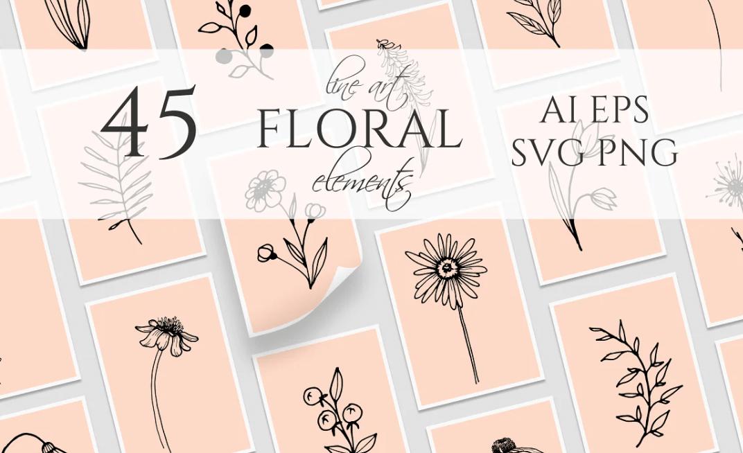 45 Vector Line Art Floral Elements