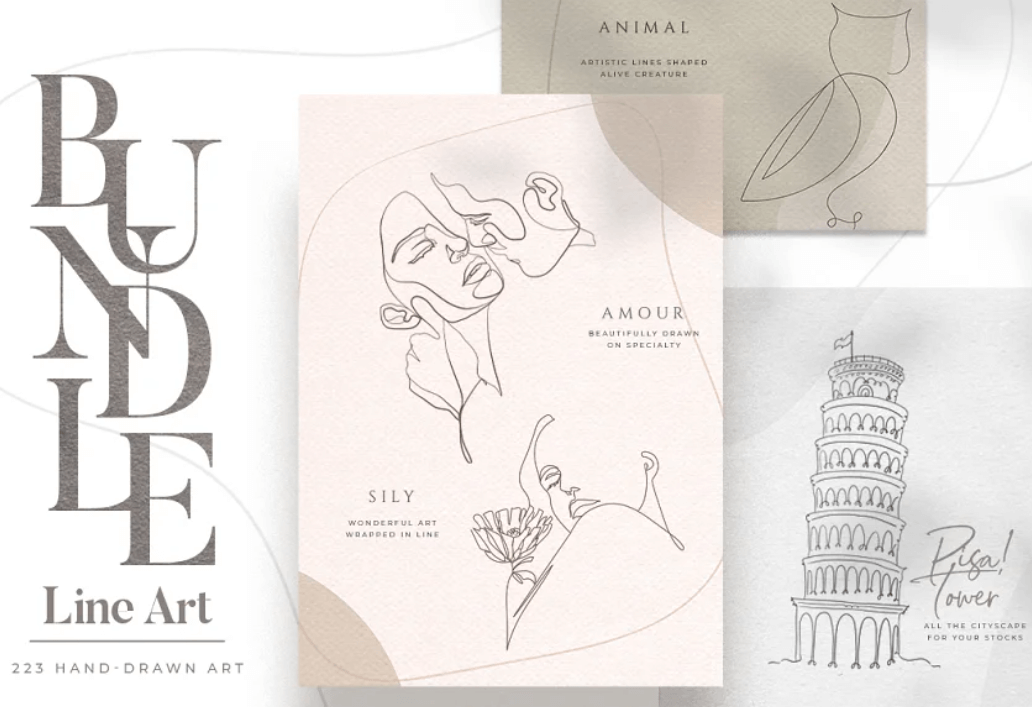 BUNDLE Line Art and illustrations