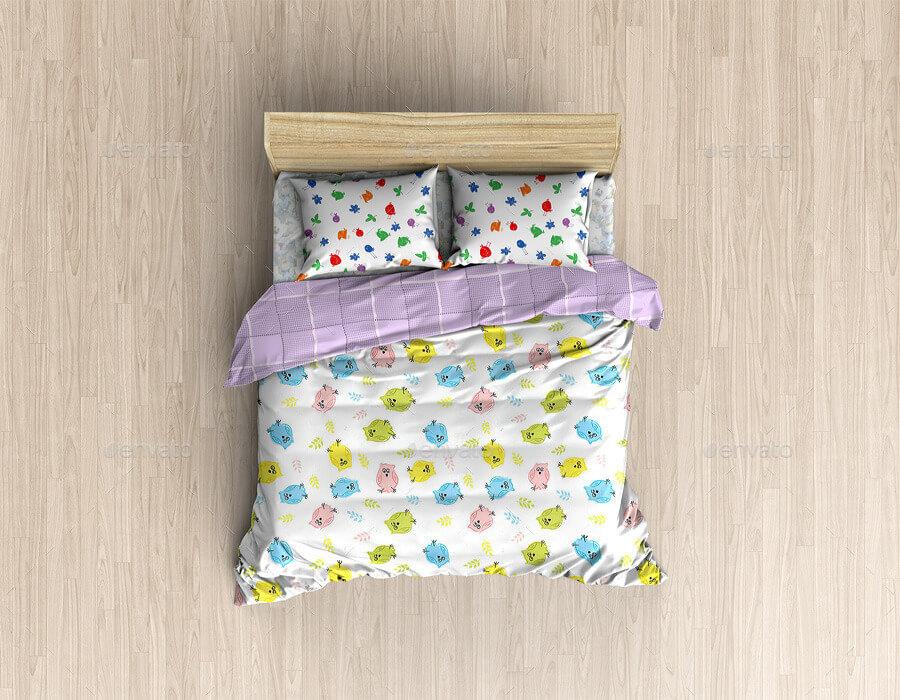 Bed Linens Mock-Up Bedding Set Template (1)