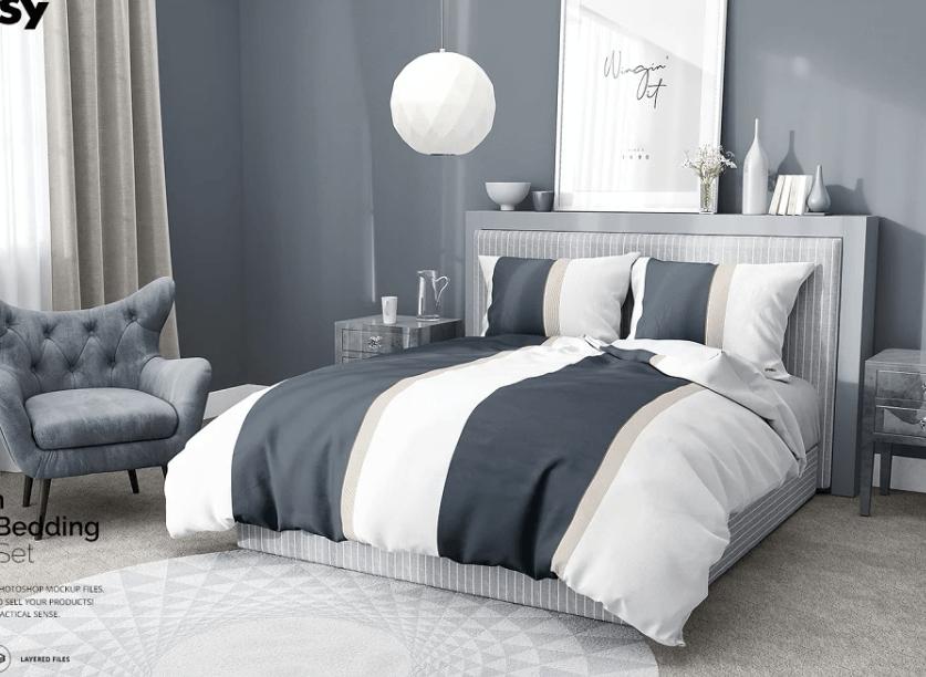 Bedroom Scene 3 Bedding Mockup Set