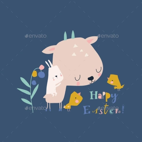 Cartoon Easter Illustration with Deer Rabbits and (1)