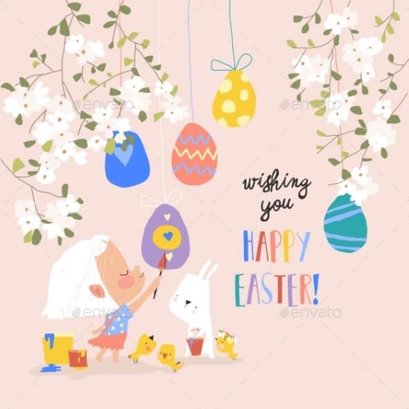 Cartoon Easter Illustration with Girl Rabbit (1)
