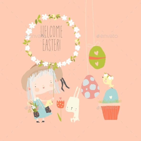 Cartoon Easter Illustration with Girl and Rabbit (1)