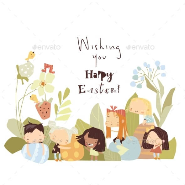 Cartoon Easter Illustration with Little Children (1)