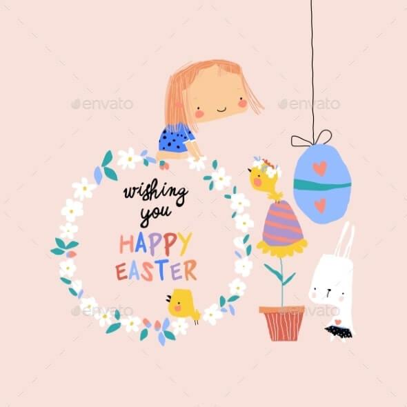 Cartoon Easter Illustration with Rabbit (1)