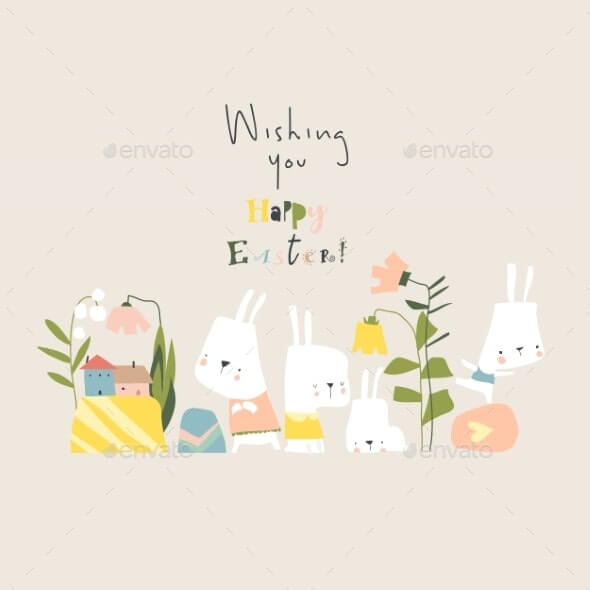 Cartoon Easter Illustration with Rabbits Flowers (1)