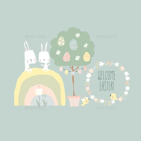 Cartoon Easter Illustration with Rabbits Rainbow (1)