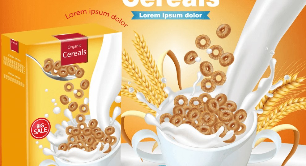 Cereals and milk package mockup