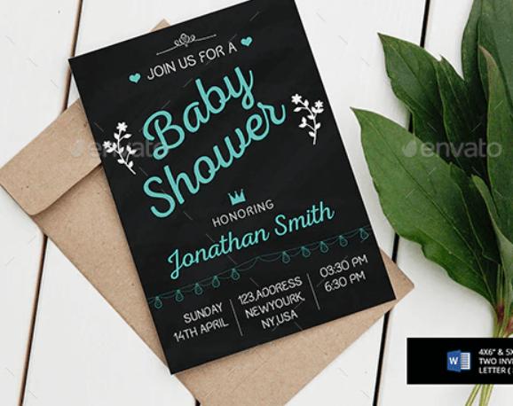 Chalkboard Shower Invitation Template