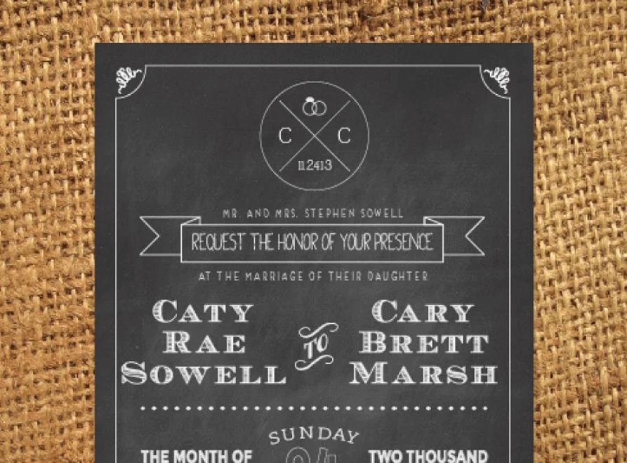 Chalkboard Wedding Invitation1