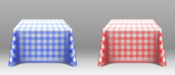 Checkered Tablecloths on Square Tables Mockup (1)