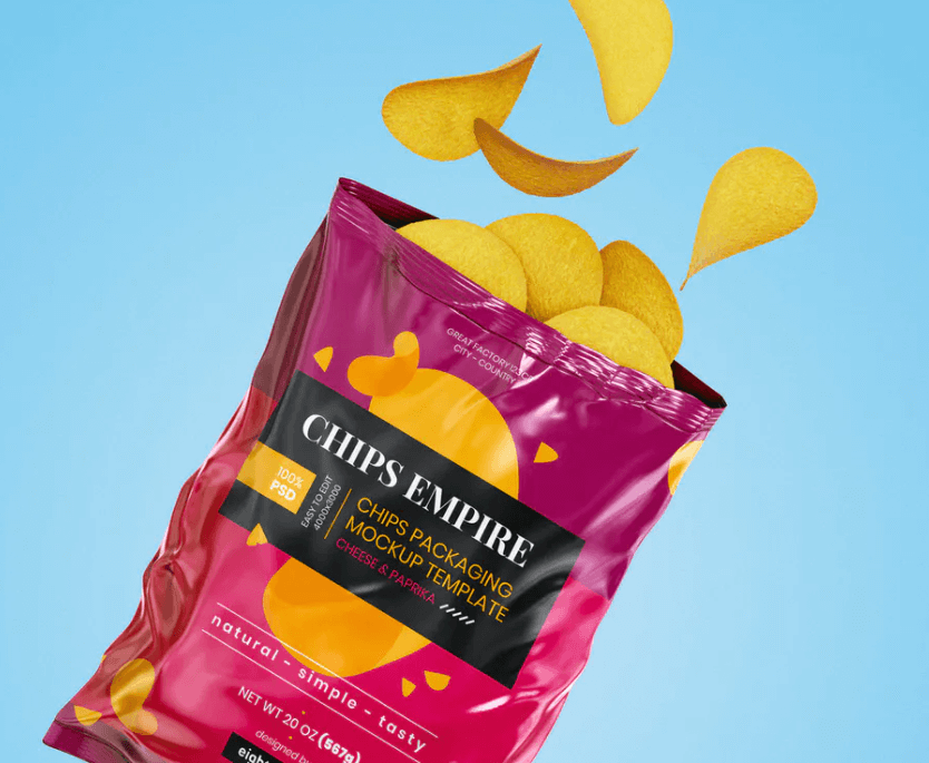 Chips Pouch Packaging Mockup