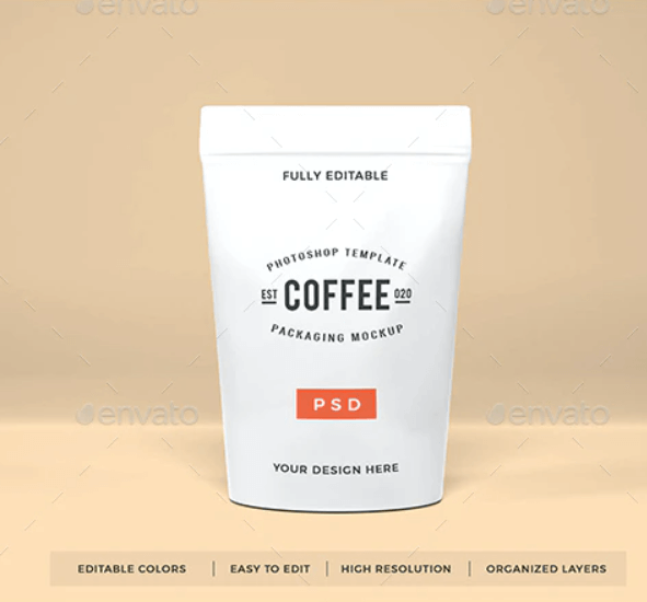 Coffee Pouch Packaging Mockup Template Vol 1