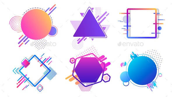 Colored Banners Different Geometric Shapes (1)