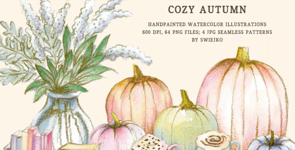 Cozy Autumn - watercolor illustration set
