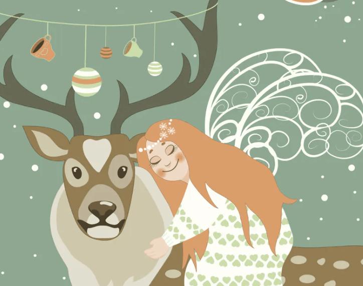 Cute angel hugs reindeer