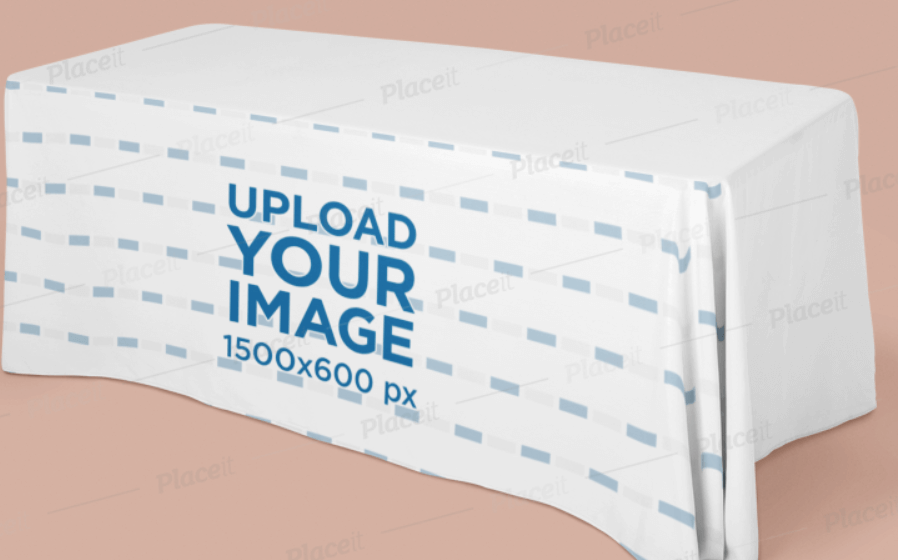Exhibition Tablecloth Mockup Featuring a Wide Table in a Plain Background