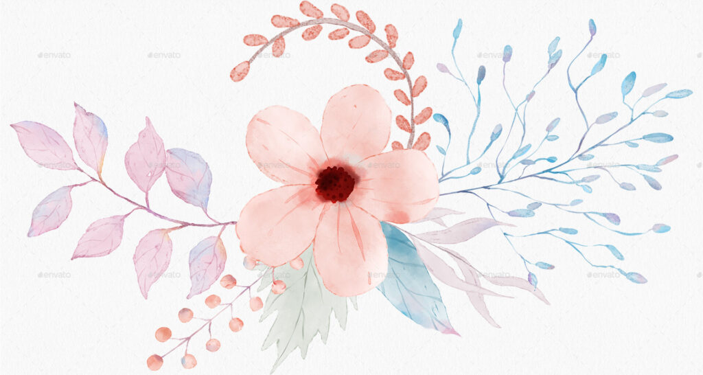 Floral Watercolor Illustrations Clipart PNG (1)