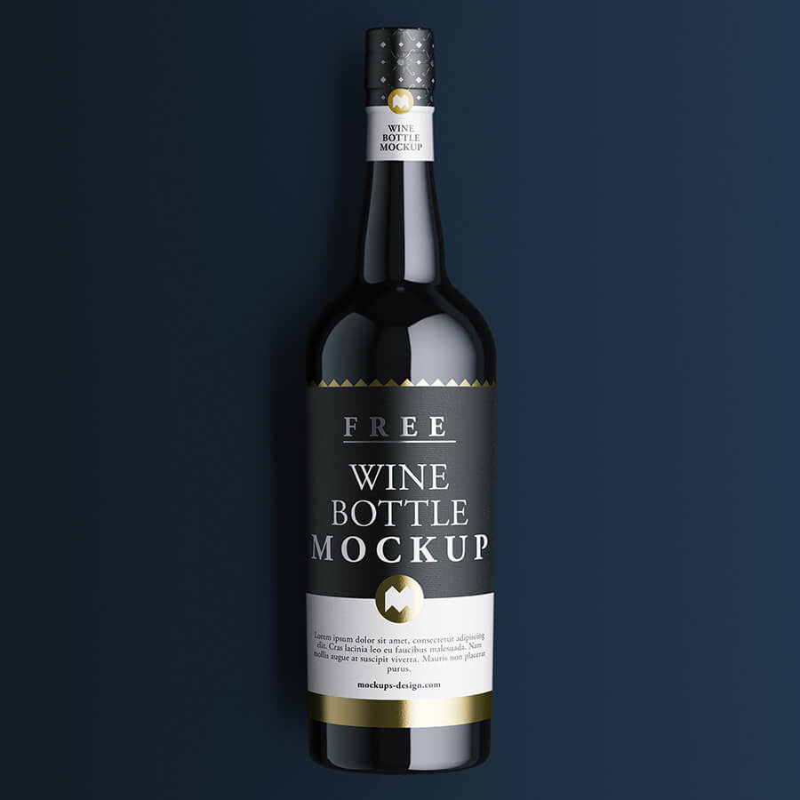 Free Black And Corked Wine Bottle Mockup PSD Template (1)