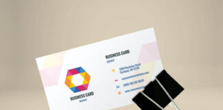 Free Business Card Mockup In Binder Clip PSD Template (1)