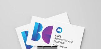 Free Business Card With Foldback Clip Mockup PSD Template (1)