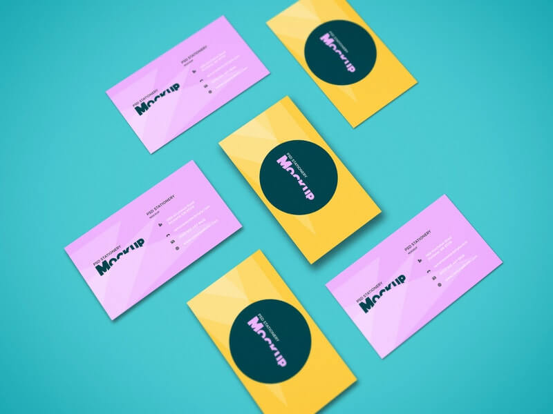 Free Colorful Perspective Business Cards Mockup PSD Template (1)