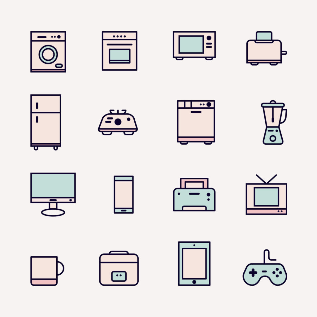 Free Electrical Appliances Colored Vector Icons (1)