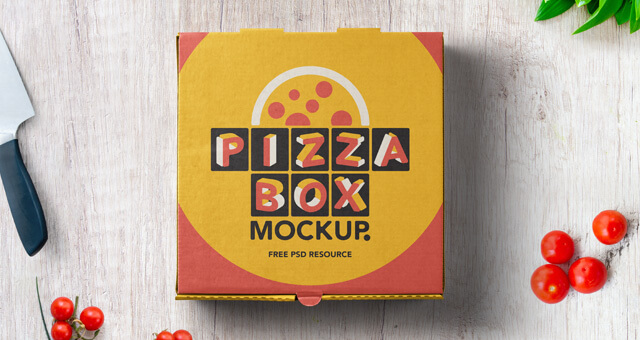 Free High Quality Pizza Box Mockup Packaging PSD Template (1)