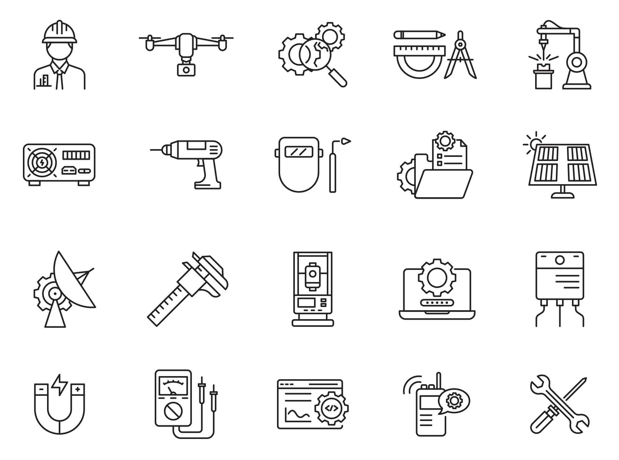 Free Illustrated Engineering Vector Icons (1)