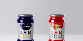 Free Labelled Jam Bottle Mockup PSD Template (1)