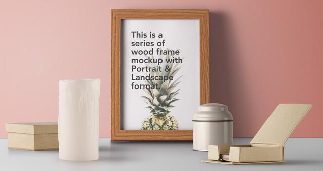 Free Landscape Wood Frame Mockup PSD Template (1)