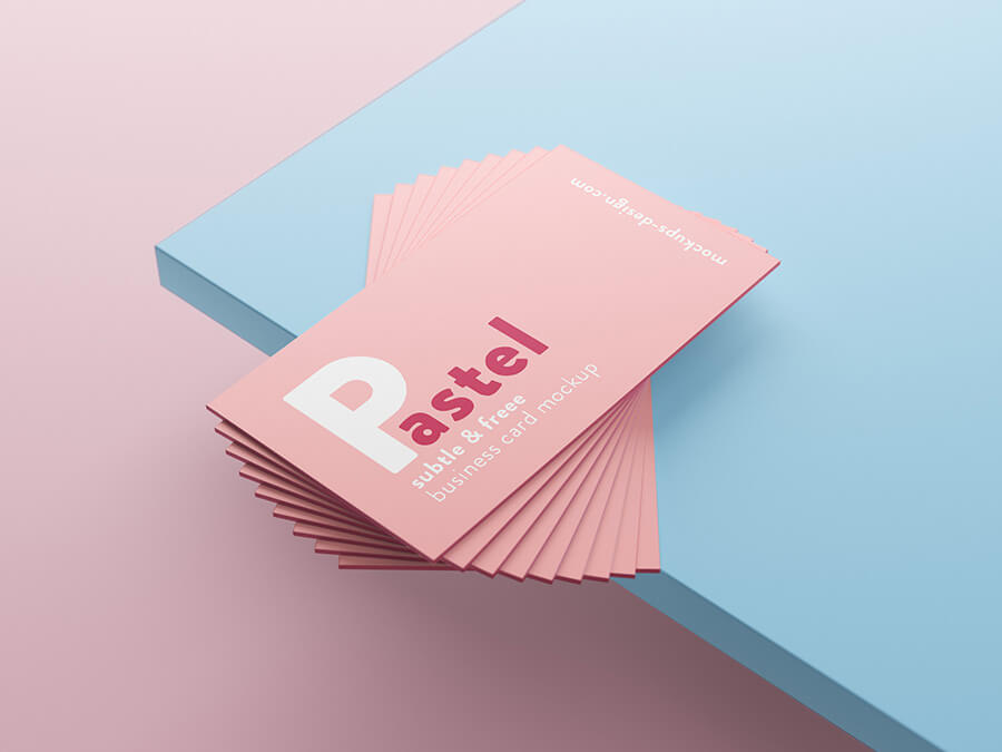 Free Pastel Business Cards Mockup PSD Template (1)