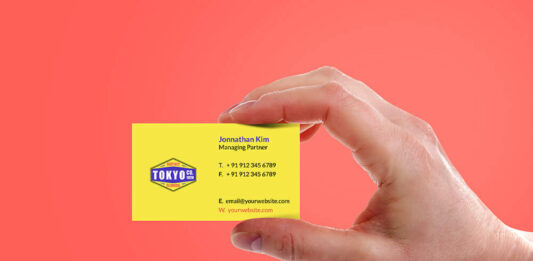 Free Sleek Hand Holding Business Card Mockup PSD Template (1)