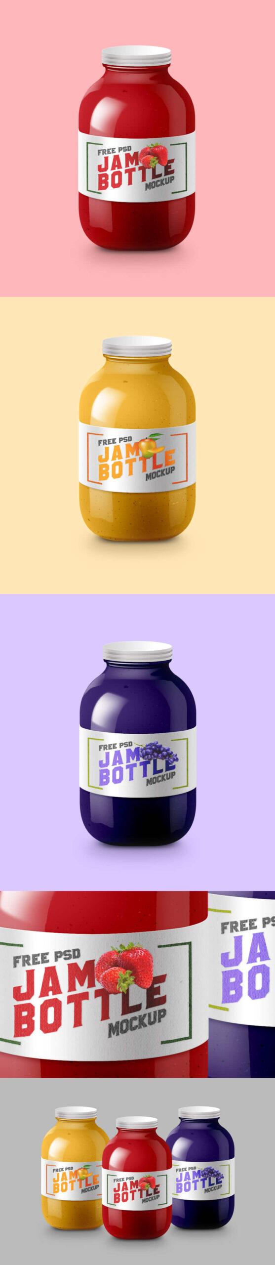 Free Tasty Jam Bottle Mockup PSD Template (1)