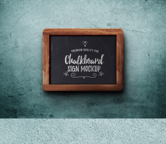 Free Typographic Chalkboard Sign Mockup PSD Template (1)