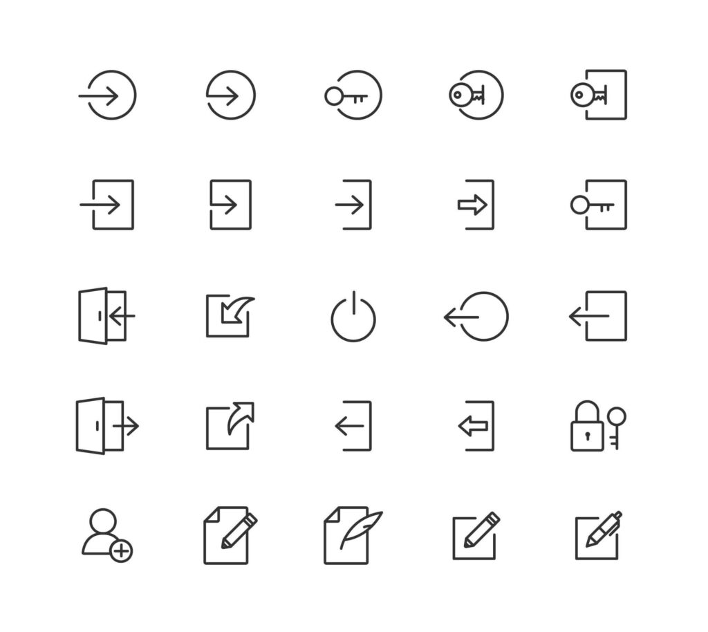 Free Useful Login and Logout Vector Icons1 (1)