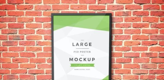 Free Wall Backgrounded Artwork Frame Mockup PSD Template (1)