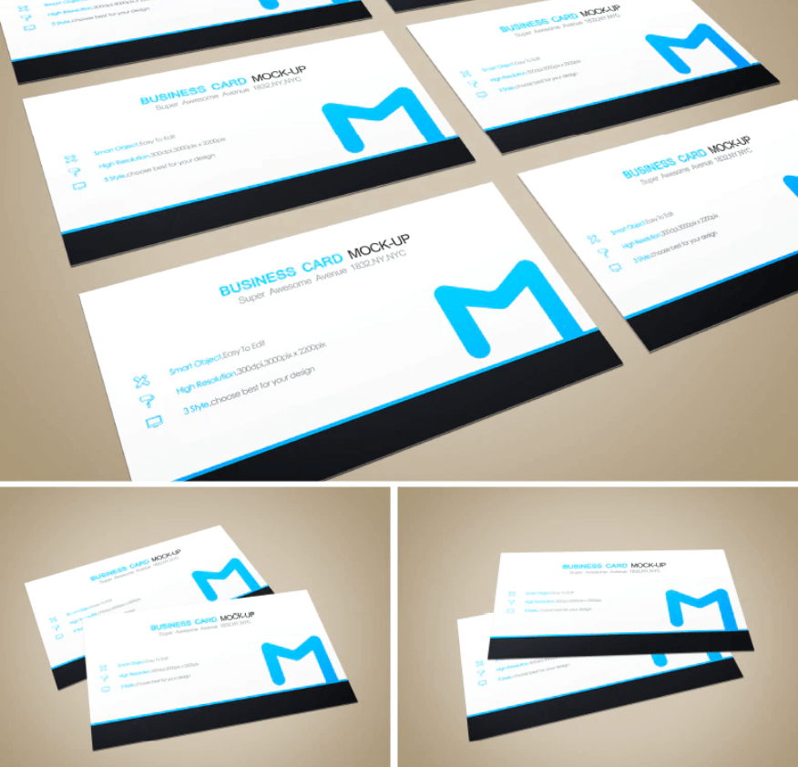 Free White And Blue Business Card Mockup PSD Template