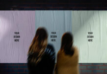 Free White Glued Street Posters Mockup PSD Template (1)