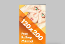 Free Yellow Roll-Up Mockup PSD Template (1)