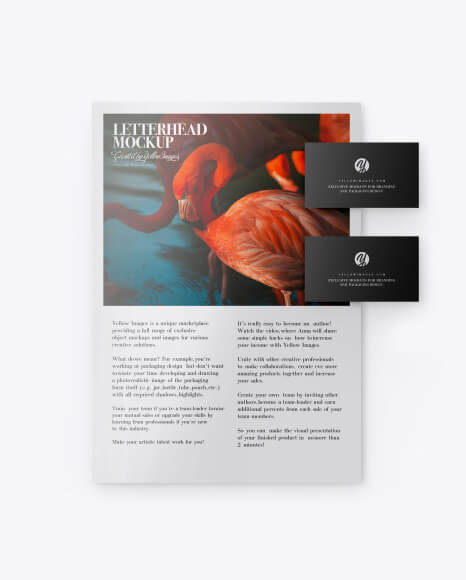 Glossy A4 Paper w Two Business Cards Mockup (1)