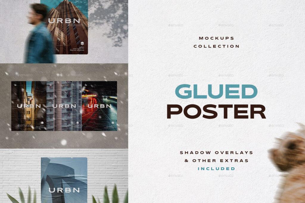Glued Poster Mockups Collection (1)