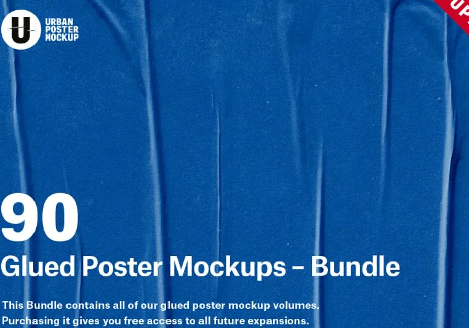 Glued Poster Paper Mockup Bundle