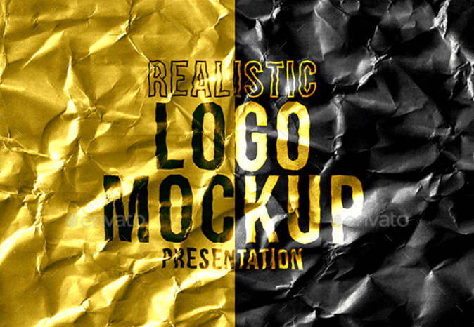 Gold & Black Crumpled Paper Logo Mockup