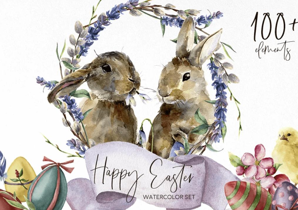 Happy Easter. Watercolor bundle