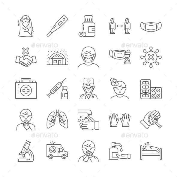 Large Set of Black and White Line Icons for Flu (1)