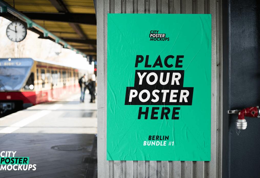 Metro - Glued Poster Mockup